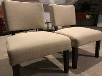 two brown wooden framed white padded chairs Oakland, 94606