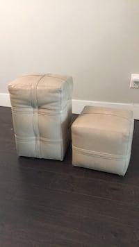Two ivory leather sofa stools Vancouver, V5K 2E2