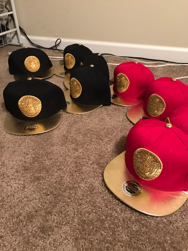 43b159ad832 Used Red black gold Versace medusa head SnapBack hats beanies for sale in Lake  Villa