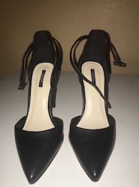 Pair of black leather pointed-toe ankle strap heels Portland, 97266