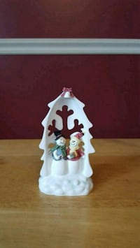 two snowmen ceramic figurines