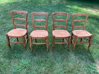 Vintage Rustic Dining Room Van Gogh Chairs (4) Woven Seat Top Quality Newark, 19711