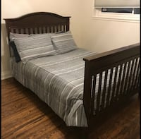 BROWN SOLID WOOD DOUBLE/FULL BED FRAME - GREAT COND - FREE DELIVERY