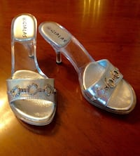 Silver Slip-On High Heel Sandals / Mules