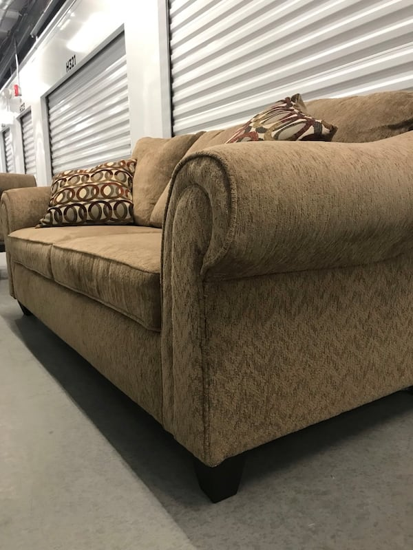 Tan couch with loveseat 48a28858-8973-429b-be50-306de8d85429