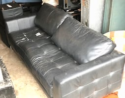 Faux black leather couch and ottomans