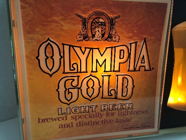 Used *VINTAGE* OLYMPIA GOLD LIGHT BEER LIGHTED BUBBLER