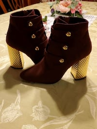 Gold and burgundy boots