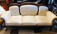 brown wooden framed white padded 3-seat sofa Downey, 90242