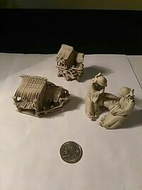 two monk figurines with two gray house miniatures Randallstown, 21133