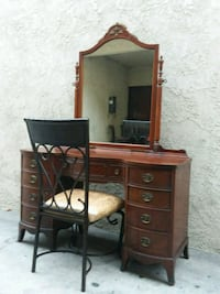 WOODEN THOMASVILLE VANITY WITH IRON CHAIR  Whittier, 90602