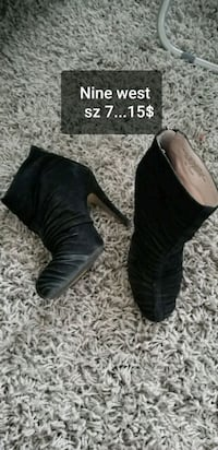 pair of black leather peep-toe heeled shoes Brampton, L6R