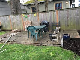 Patio made from Pallets . Well used . You pick . Bench was made just few months ago .  Green table included if you wanted . You would need a big truck and probably a friend to help you to carry all the pallets . All need to go away .