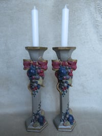 "2 candle stands,  10"" tall Burlington"