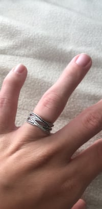 Silver and diamond studded ring. Nothing is wrong with it, it's a size 7. I just never were it anymore. Hampton, 23666