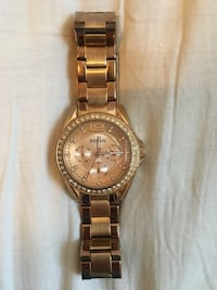 Round gold-colored fossil chronograph watch with link band Toronto, M4M 1L4