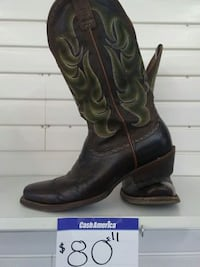 black-and-green leather square-toe cowboy boots Mission, 78572