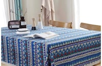 Brand New Blue Bohemian Table Cloth WITHOUT LACE