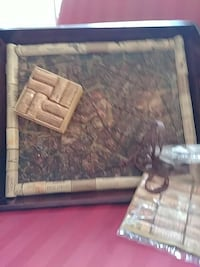 Serving tray. Wooden with corks inlaid