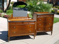 Walnut highboy dresser and dresser with mirror  Modesto, 95356
