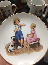Norman Rockwell plate and mugs