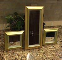 "3 Mirrored Wall Hangings- 2 Small are 6.5"" sq/ taller one is 6.5""x14"""