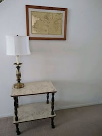 Side Table on wheels/ Picture and Lamp
