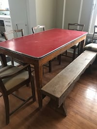 Table and 6 walnut dining chairs and antique wooden bench. Westmount, H3Z 2A1