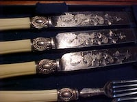 ANTIQUE LUNCHEON OR DESSERT SET IN CANTEEN NICE SCROLL WORK ON THE METAL