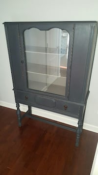 black wooden framed glass display cabinet Jefferson