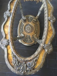 gold-colored wooden framed mirror Pomona, 91768