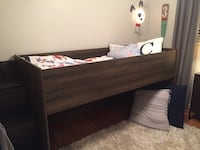 brown wooden bed frame with white mattress Oshawa, L1J 4P9