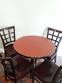 Restaurant Cafe Style Wood & Metal Table, Solid Wood Chairs Edmonton