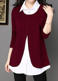 Women's white button-up shirt with red 3/4 sleeved cardigan 26 km