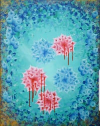 blue and pink flower painting Corona, 92883