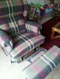 purple and white plaid fabric sofa chair Lake Ridge, 22192