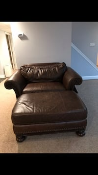 Brown leather sofa chair with ottoman and matching couch  Hawthorne, 07506