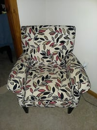 white-black-yellow-red leafs print suede armchair Ocala, 34476