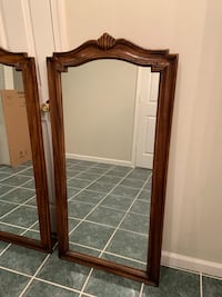 Pair of Mid-Century Arched Walnut-Framed Mirrors