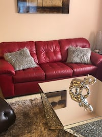 Red leather sofa and love seat College Park