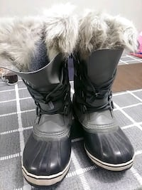 gray-and-black leather fur-lined mid-calf duck boots Toronto, M3C 1B5
