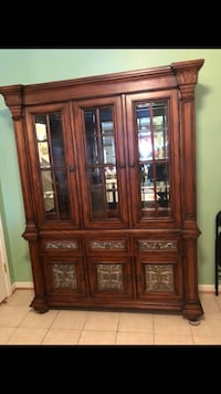 Brown wooden framed glass china cabinet Manassas, 20109