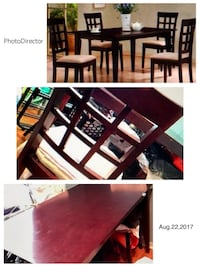 Tall, mahogany, extendable table with four tall chairs, off/beige chairs & a lazy Susan center piece.  used. 600.00/ Negotiable. Pick up only