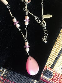 Silver toned and pink beaded necklace / Fashion jewelry great for Summer style Alexandria, 22311