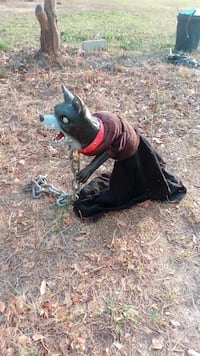 black and gray dog with brown and black dress Halloween-themed ornament Gaston, 29053