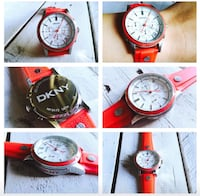 Woman watch DKNY summer red