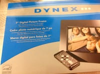 "Dynex 7""digital picture frame brand new in the box never been used internal memory storage up to 40 images play slideshows of your favourite photos ,accessories included:remote control,manual,quick setupguide,ac adapter"