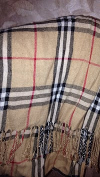 brown, red and black plaid scarf