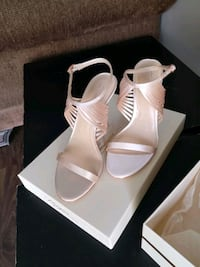 pair of white leather open toe ankle strap heels Surrey, V3R 1M5