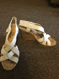 pair of white cork peep-toe wedge sandals Clarion, 16214